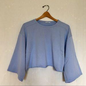 Zara Sport Sky Blue Crop Sweatshirt sz L